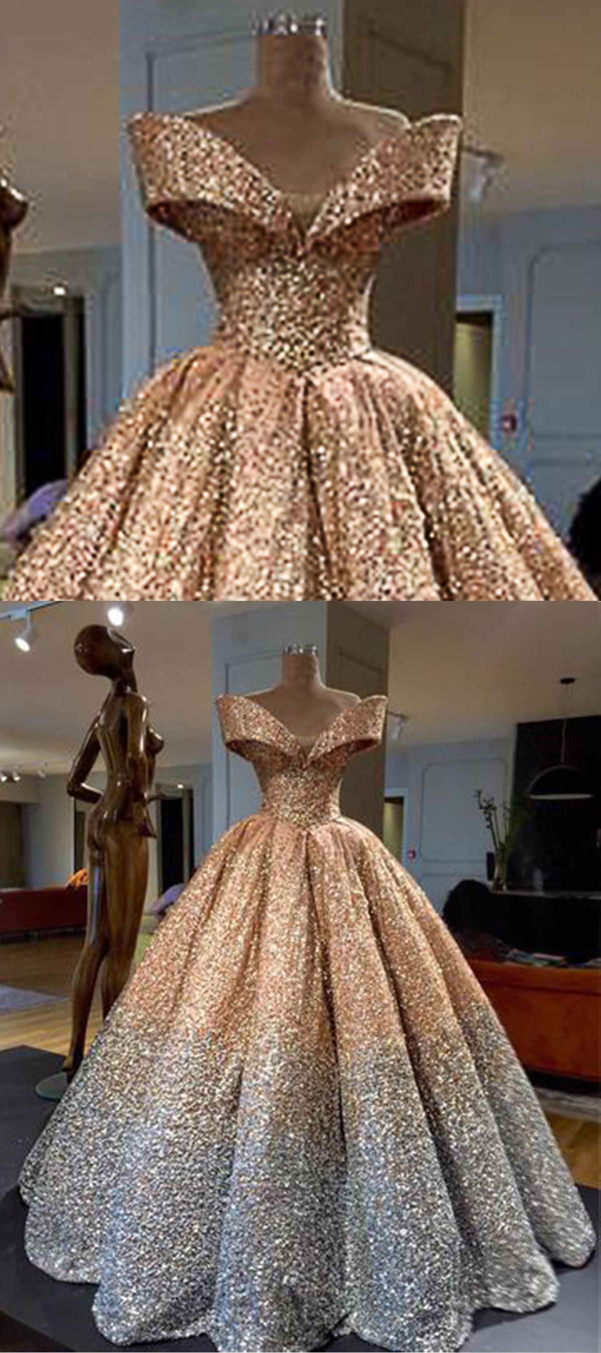 Sparkly gold polyester off shoulder long poofy evening gown #prom ...