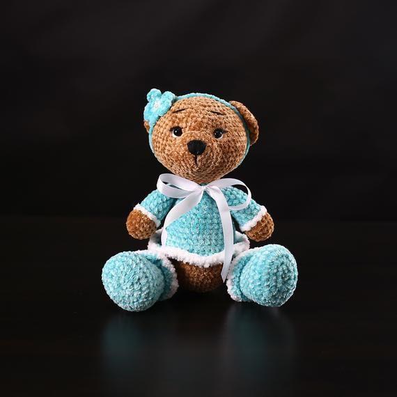 Stuffed teddy bear. Interior toy. Amigurumi bear doll. Girl gift ... | 570x570