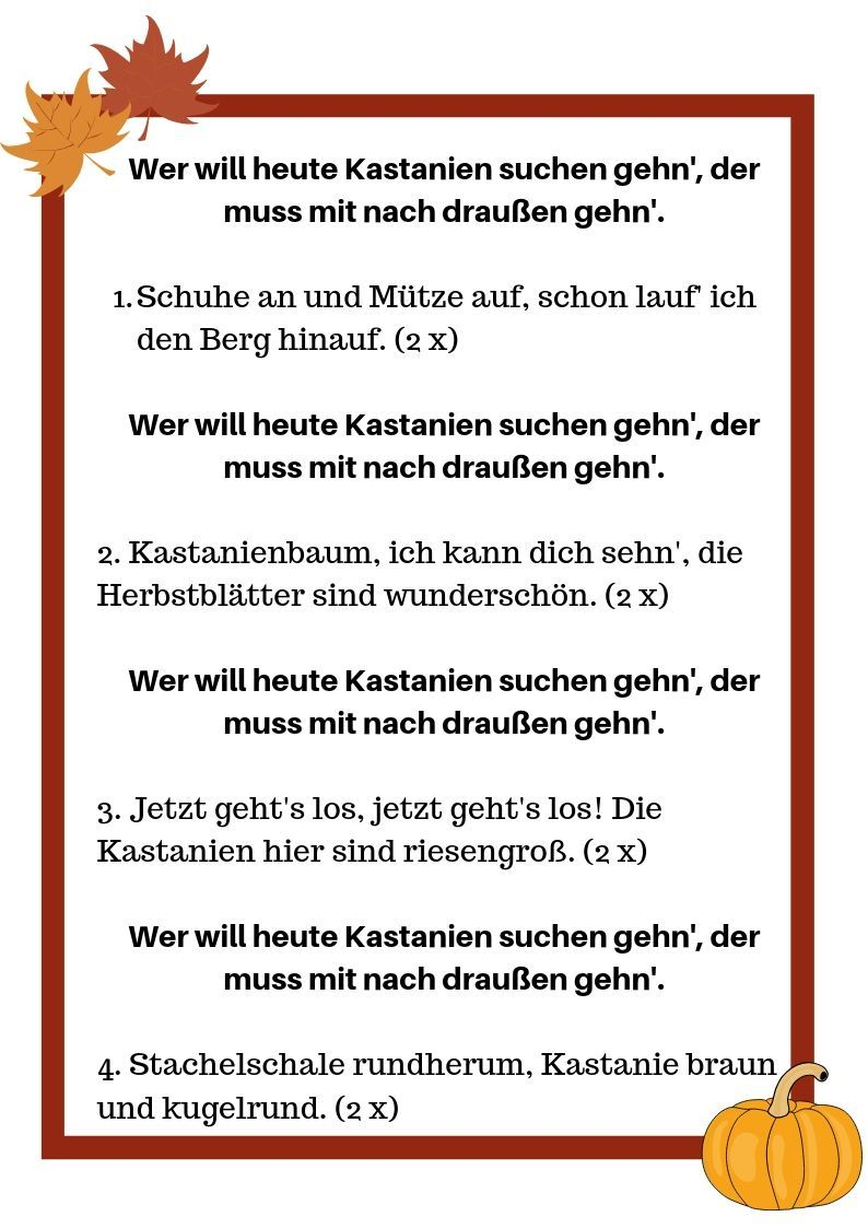 Kinderlied Wer Will Heute Kastanien Suchen Gehen Bauchredner Shows Fur Kinder Osterreich Kinder Lied Kinderlieder Kindergarten Lieder