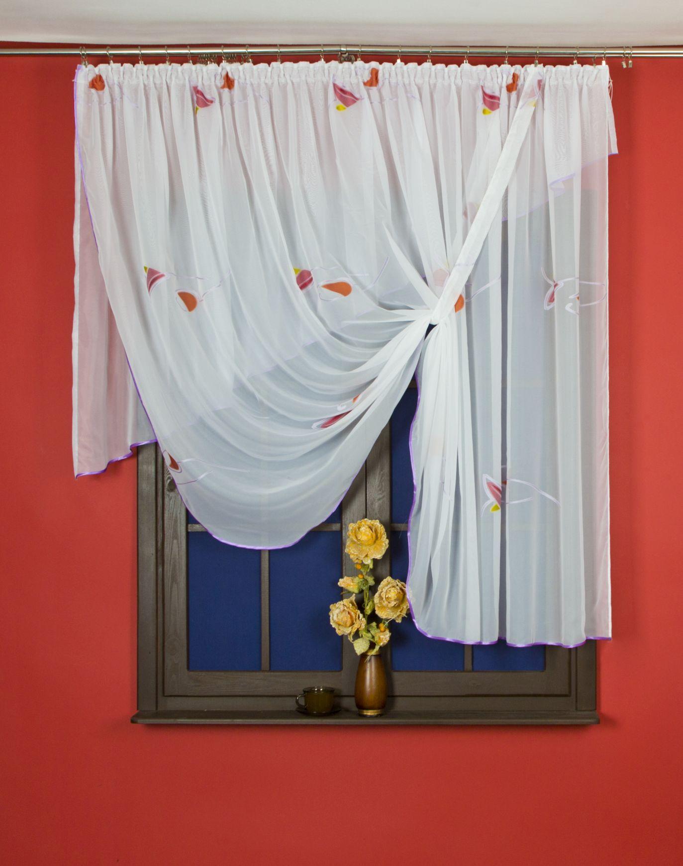 Firana Gotowa Z Kwiatami 150 X 300 Cm Elegancka Firana Obszyta Piekna Atlasowa Lamowka Piekny Kwiatowy Wzor Wprowadzi Do Kazdego Wn Decor Home Decor Curtains