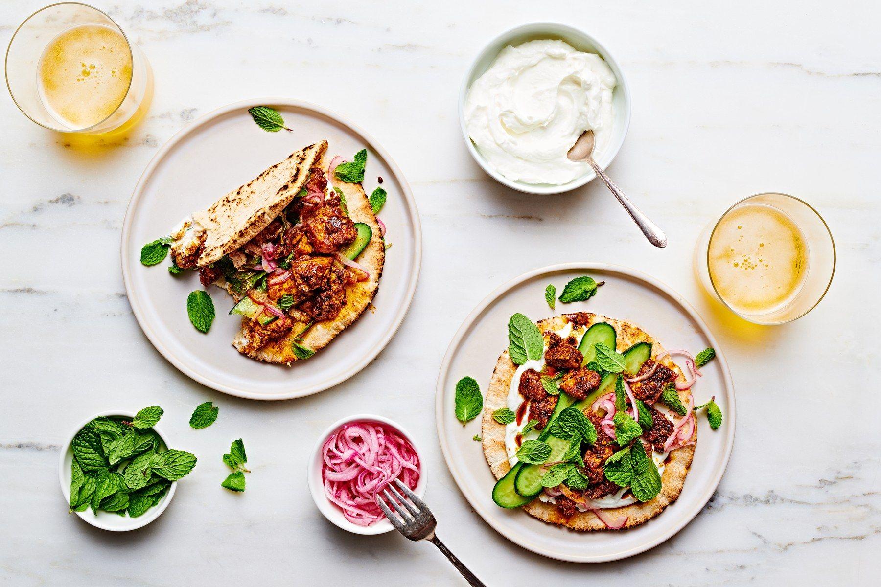 Shawarma Spiced Tofu Pita Wraps Recipe In 2020 Vegetarian Recipes Dinner Vegetarian Dinner Party Vegetarian