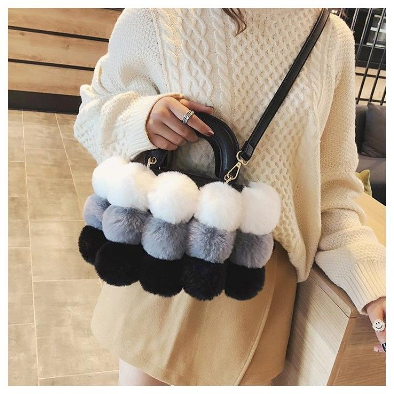 Grey and White Faux Fur Hand Purse Pompom Shoulder Handbags  fashionstyling   fashionstyler  fashionwoman  fashionperu  fashionstylist  fashionbloggers  ... 119e032275