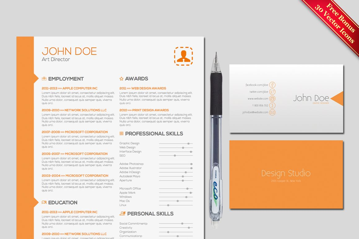 Resume  Cover Letter Template By Pixip Icons On Creative Market