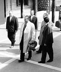 Josip Broz Tito visiting his birthplace Kumrovec in 1961.