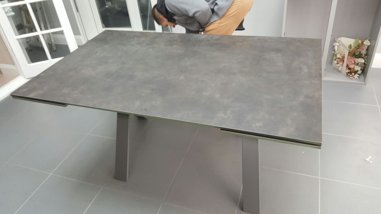 Dining Table Size Extensions That Slides Out On Both Ends Is Fully Supported By Steel Frame And Legs