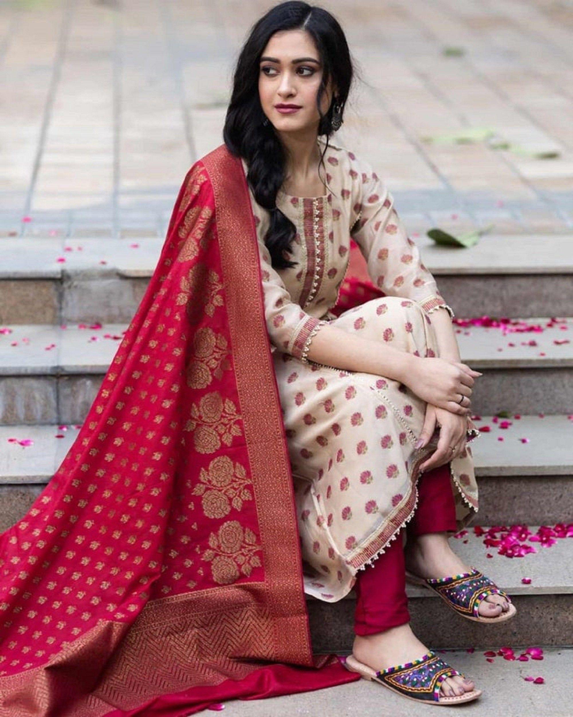 kurti with pant /& dupptta Bollywood Designer Rayon Gota Work Kurti Pant With Dupatta Set Special For Women and Girls||Kurti Dupatta Set||