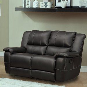 Cantrell Bonded Leather Reclining Loveseat Black Walmart