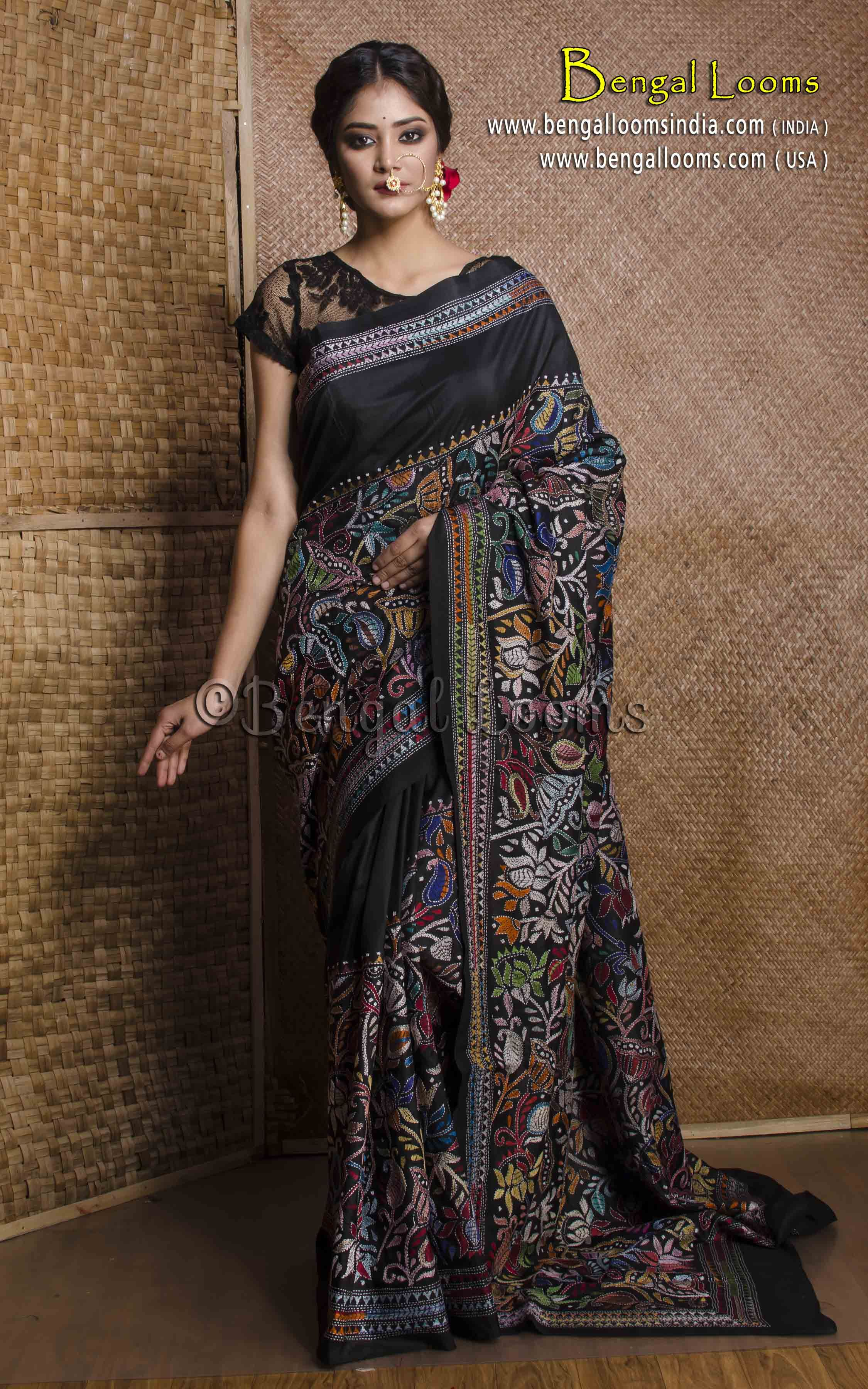 fc684d7001 Hand Work Kantha Stitch Saree on Pure Silk in Black   Kantha Stitch ...