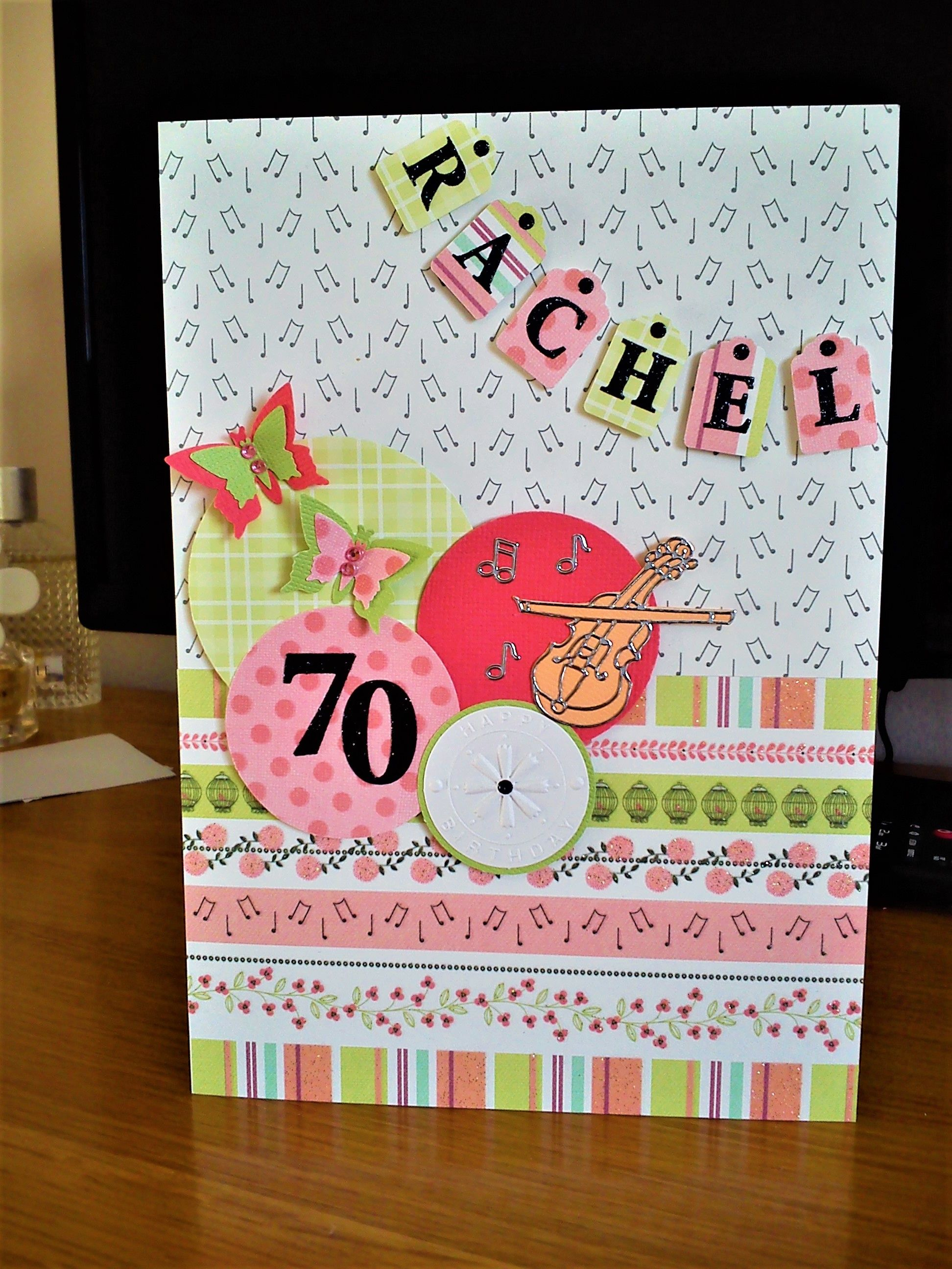 Handmade Personalised 70th Birthday Card With A Music Theme