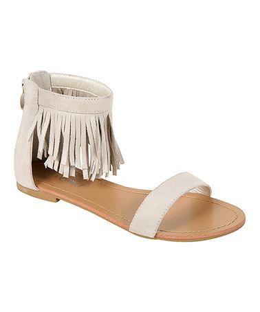 Beige Fringe Coralie Sandal #zulily #zulilyfinds