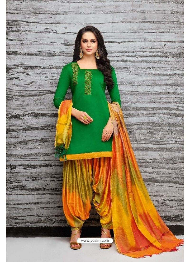 7b9f79ad1c Forest Green And Multi Colour Silk Embroidered Patiala Salwar Suit ...