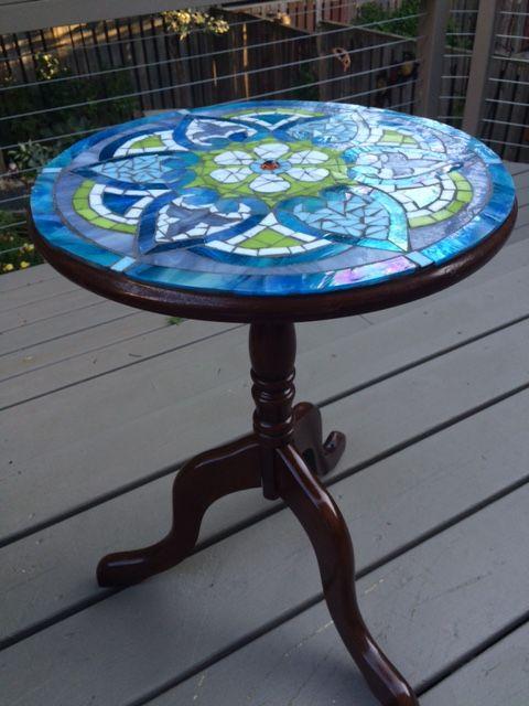Mandala Mosaic Table Side View Mosaic Table Top Mosaic Furniture Glass Tile Crafts