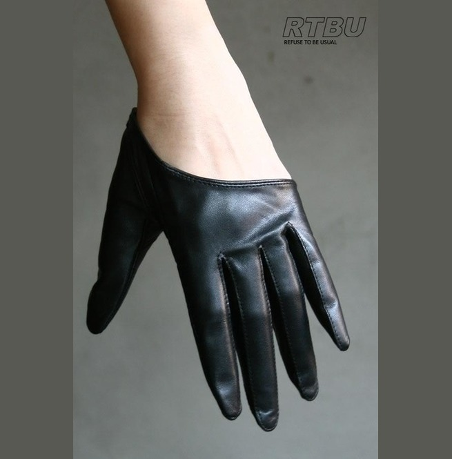 Genuine Lambskin Leather Fashion Runway Cut Away Punk Rocker Biker Gloves