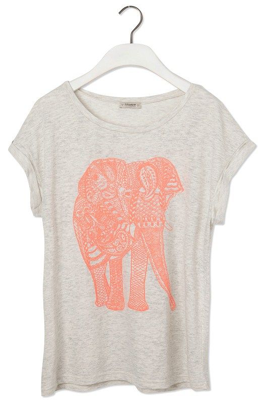 Light Grey Short Sleeve Elephant Print Loose T-Shirt - Sheinside.com