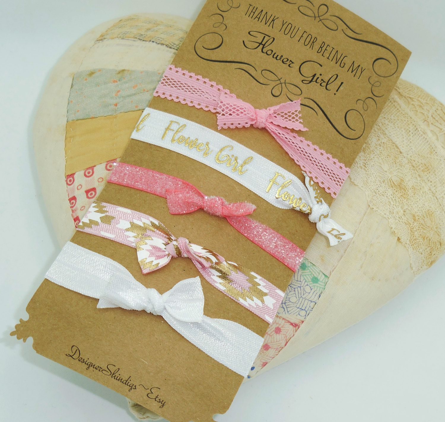 Thank you for being my flower girl hair ties bracelets bridal