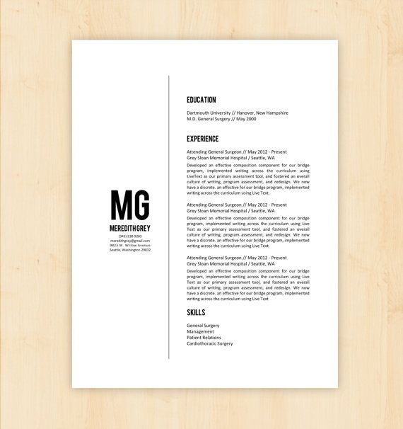 resume template    cv template - the meredith grey resume design - instant download