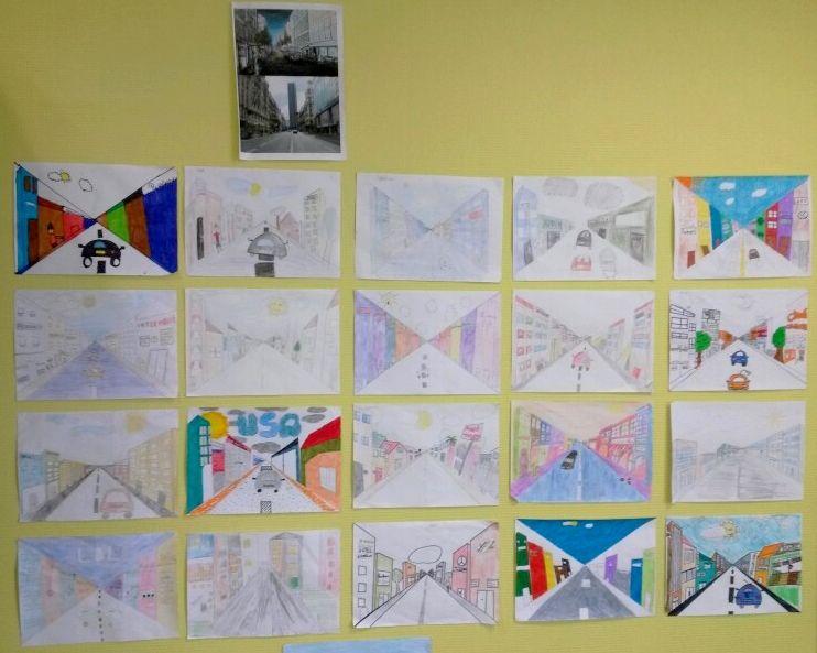 Arts Visuels CM2 : Pratique des Arts : Travail sur la perspective d'une rue commerçante (avec photographies de rues montrées aux élèves)