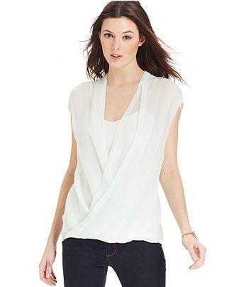 f390dfb1848 DKNY Jeans Sleeveless Faux-Wrap Top - Tops - Women - Macy's ...
