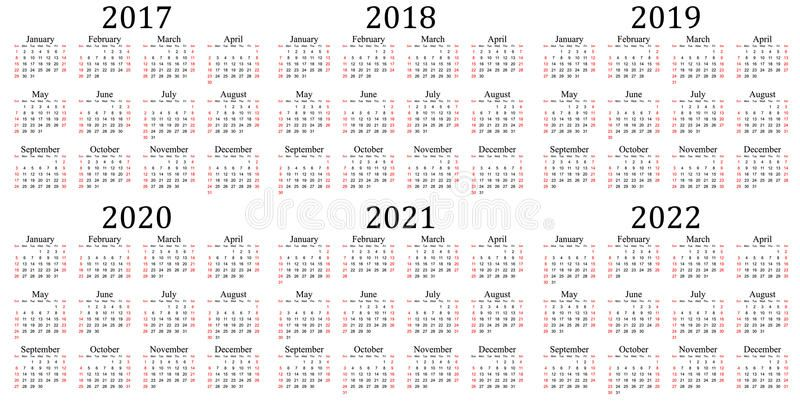 Six Year Calendar 2017 2018 2019 2020 2021 And 2022 Calendar Vector Calendar Calendar 2017