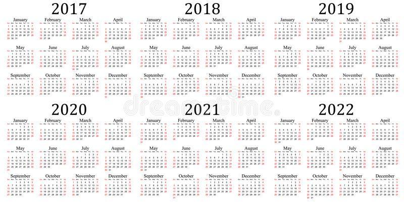 Six Year Calendar 2017 2018 2019 2020 2021 And 2022 Calendar Vector Calendar Calendar 2017
