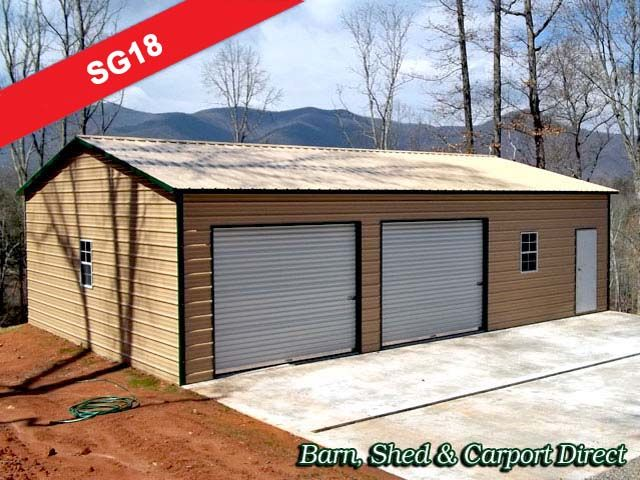 Enclosed Workshop with Storage Office Area   x x   Barn  Shed   Carpot  Direct  Metal Carports   Storage Sheds for Sale   Metal Farm Buildings Too. Two Car Metal Garage with Storage Area   30   x 41   x 9     Homes