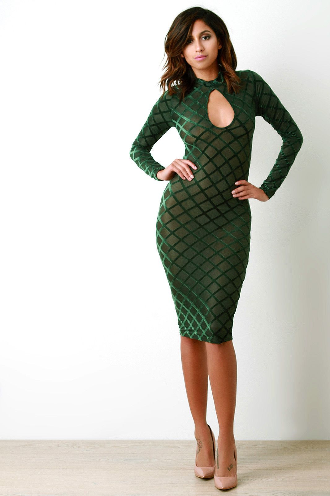 Semi-Sheer Mesh Contrast Velvet Grid Bodycon Dress