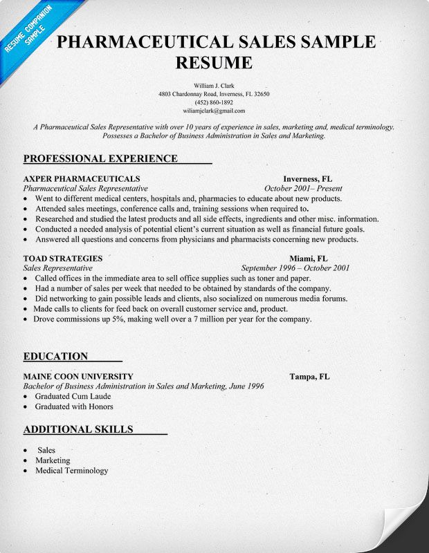 Pharmaceutical #Sales Resume Sample (resumecompanion) Resume - skills for sales resume