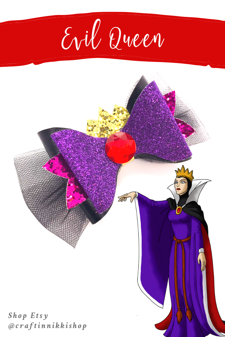 Evil Queen Snow White Inspired Black Chunky Glitter And Tulle Hair Bow Baby Girl Hair Bows Hair Bows Glitter Hair Bows