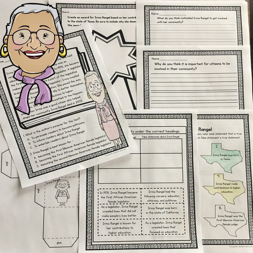 Supplement Your Historical Figure 2 4 A Unit On Irma Rangel With Activities For You Literacy Statio Study Fun Social Studies Curriculum Creative Lesson Plans