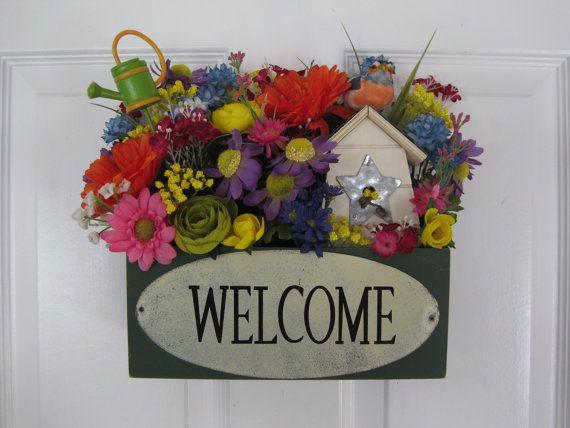 Spring Welcome Wildflowers Country Door Pocket Tabletop Wreath Free