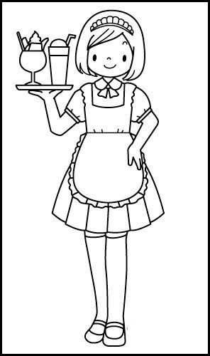 Waitress Job Coloring Picture Coloring Pages Color Waitress