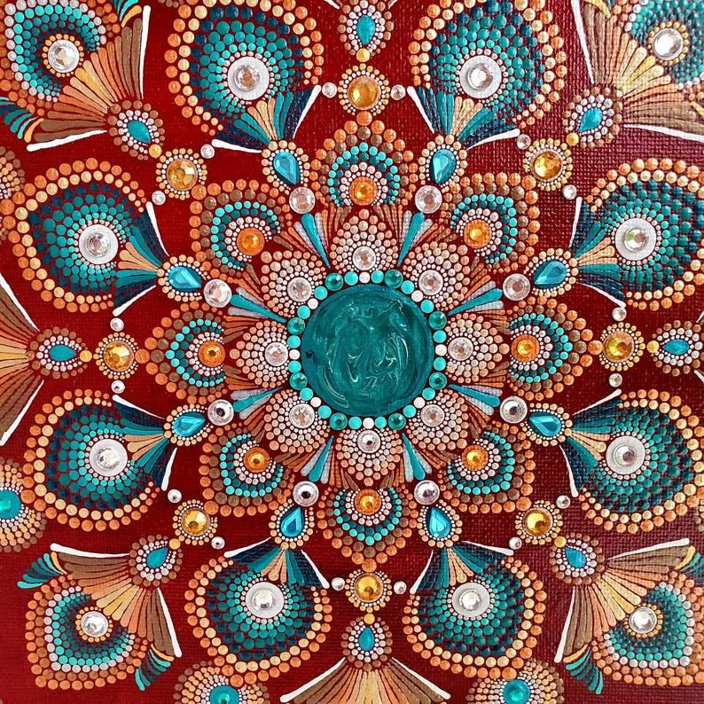 Mandala Painting 11 Inch Square On Canvas And Wood Frame Embellished With Rhinestones Sacred Geometry Art Dot Painted Mandala With Bling In 2020 Mandala Painting Sacred Geometry Art Mandala