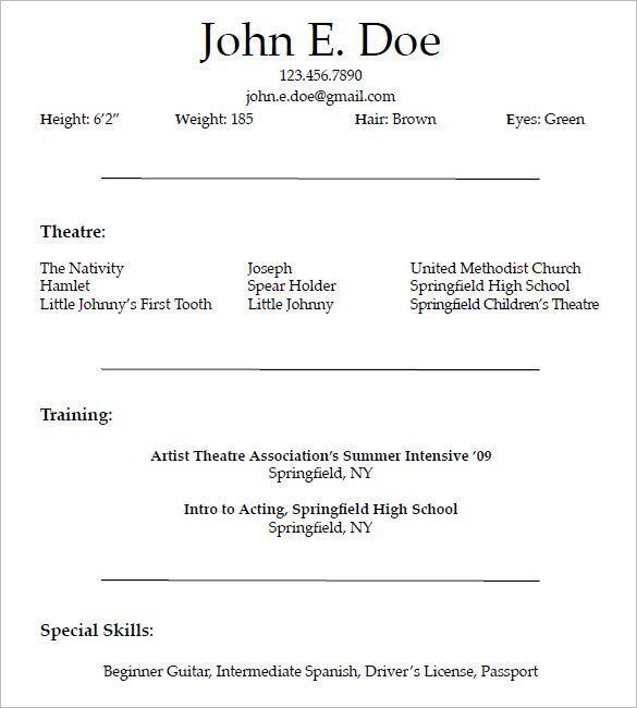 Resume Templates Acting Acting Resume Resumetemplates Templates
