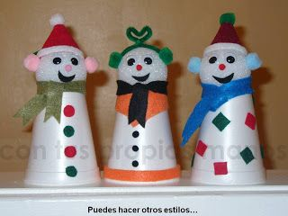 Muneco De Nieve Con Vasos Pequenos