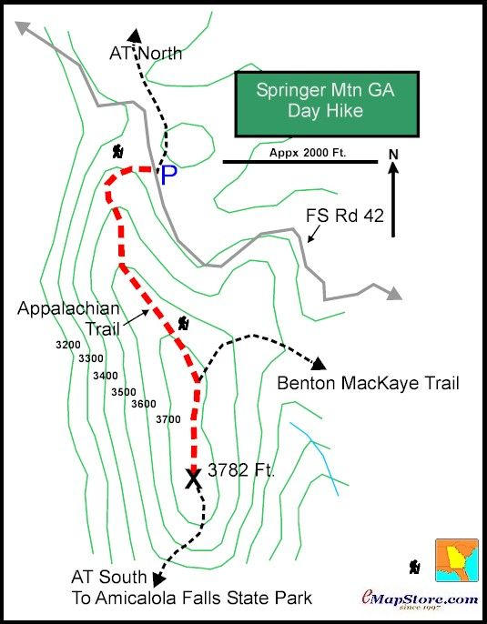 Springer Mountain Day Hike Trail Map Georgia Chattahoochee National ...