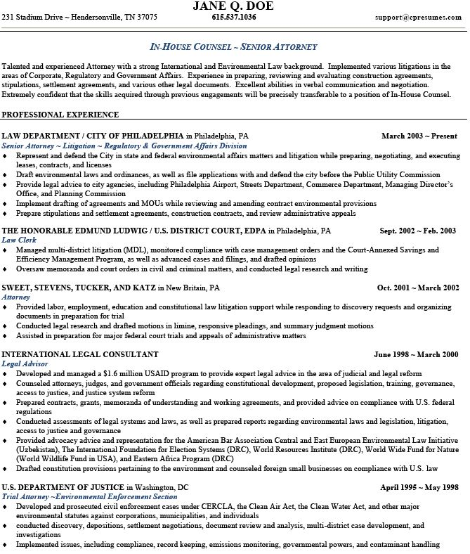 sample resume senior attorney objective for legal secretary images - corporate attorney resume