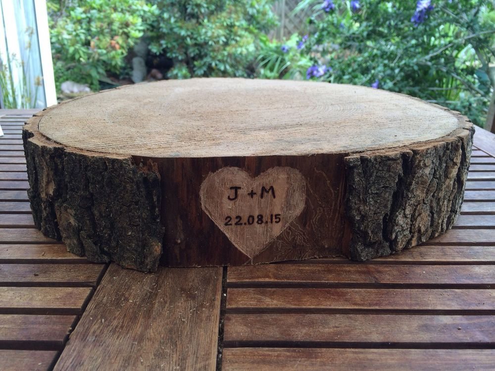 Rustic Wedding Wood Cake Stand: Personalised Wedding Cake Stand, Ash Wooden Round Slices