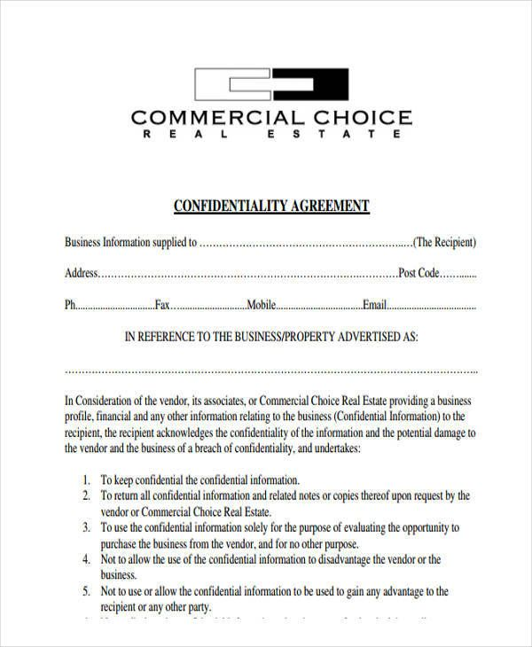 sample real estate confidentiality agreements free agreement - vendor confidentiality agreement