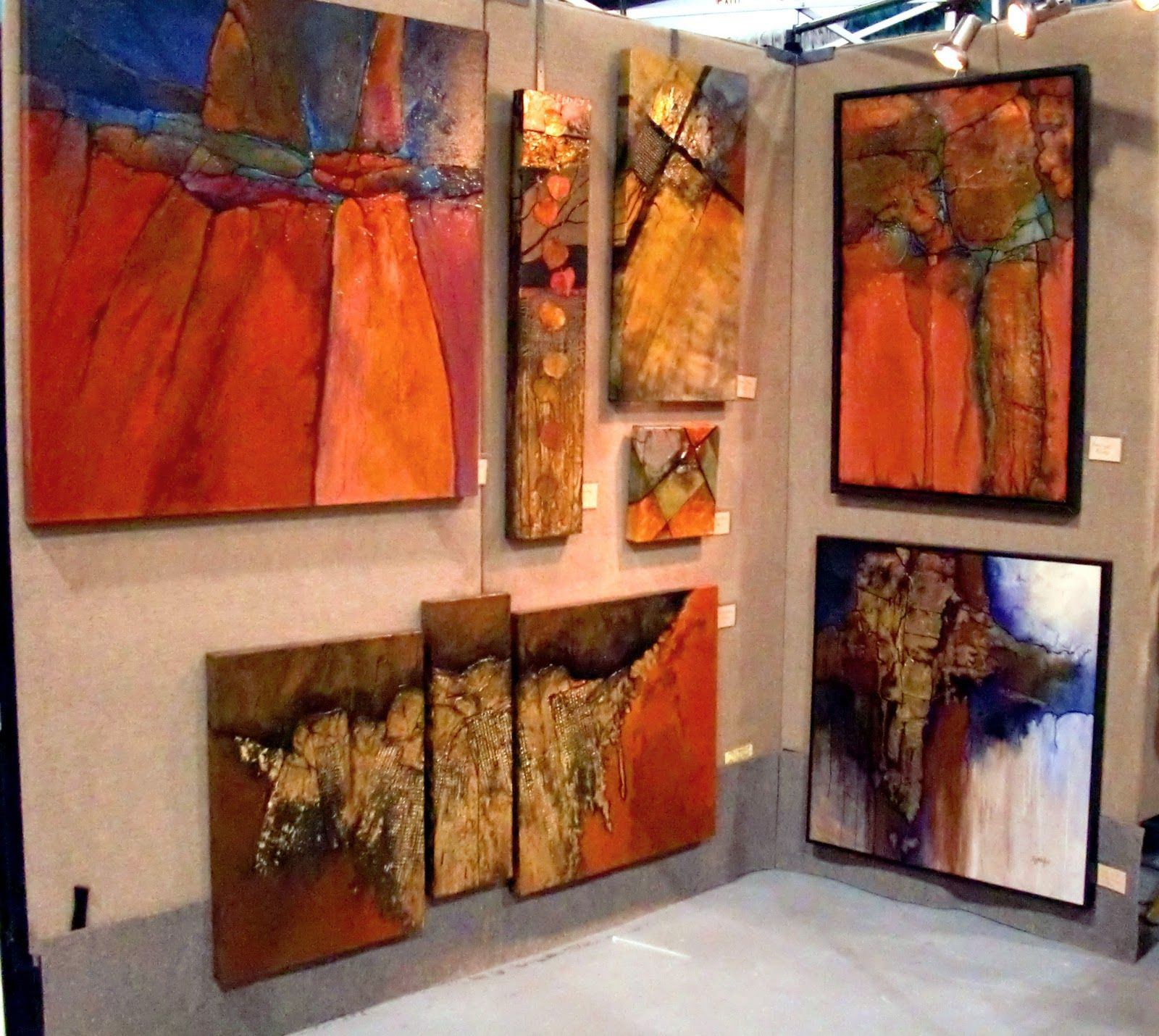 Does that look like a nice booth shot? I thought so. It shows some of my recent abstract paintings I had on display at the Indian Mark...
