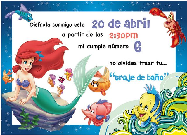 Invitación De La Sirenita Gratis Imagui En 2020