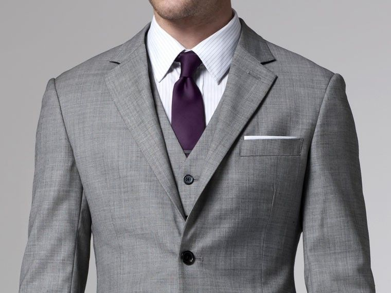 5dfcbce33569 Grey suit with purple tie | MY GROOMSMEN | Wedding suits, Suits ...