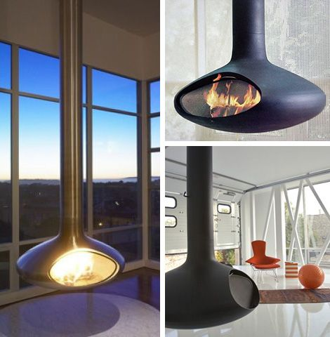 I'll just tuck one of these suspended fireplaces in the corner ...