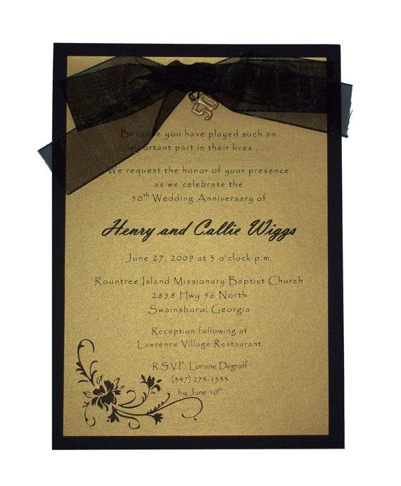 50th wedding anniversary invitations gold and black anniversary 50th wedding anniversary invitations gold and black anniversary invitations 50th anniversary invitations handmade invitations stopboris Gallery