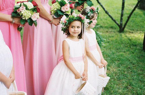 Pink sashed flower girls