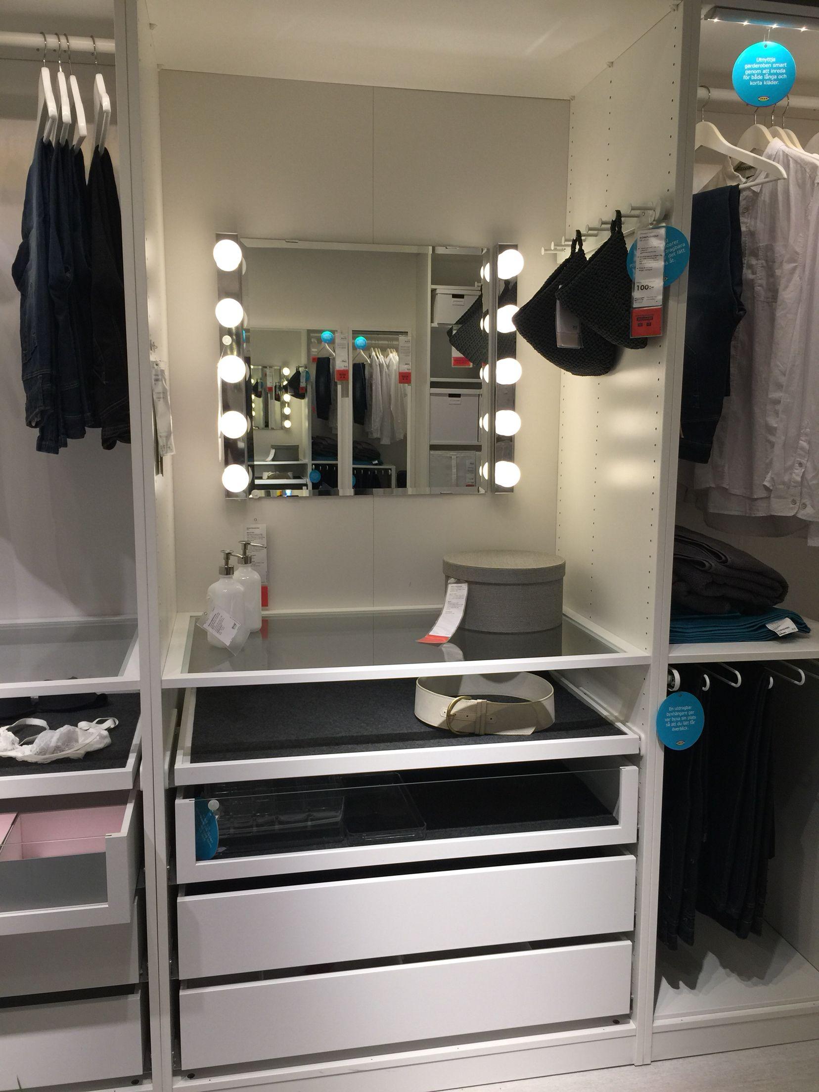 ikea pax build in makeup station 910 walkin closet pinterest garderob garderober och sovrum. Black Bedroom Furniture Sets. Home Design Ideas