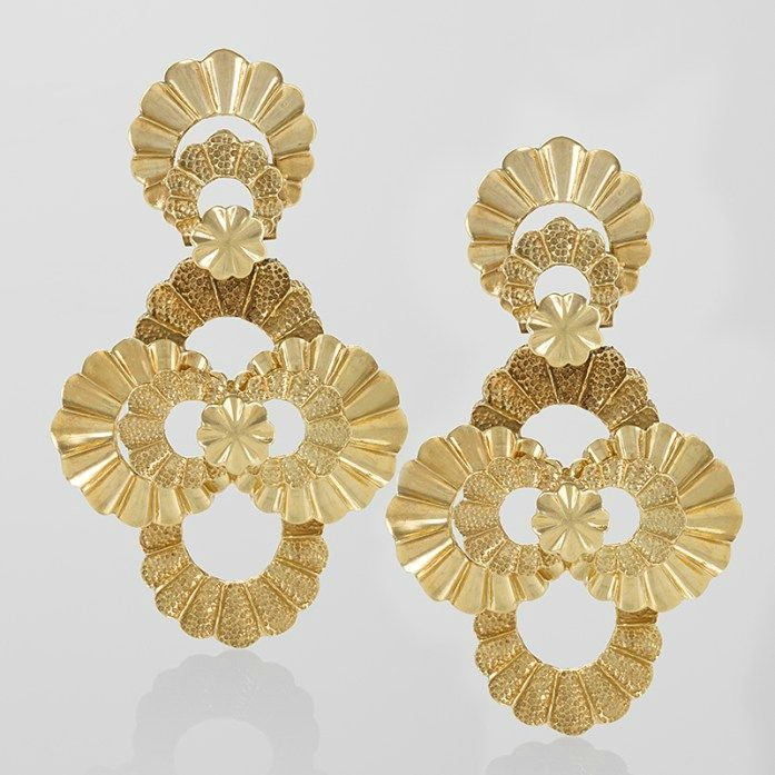 Late 20th Century Gold Earrings. Macklowe Gallery at the Winter ...