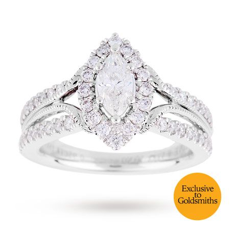 Vera Wang Love Marquise Cut 0.95 Total Carat Weight Solitaire and Diamond  Set Shoulders Ring in