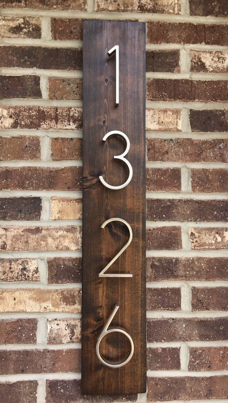 Rustic Address Plaque Vertical Address Plaque Modern Floating Wood Address Sign House Numbers Address Sign Rustic Address Plaque House Numbers Address Plaque