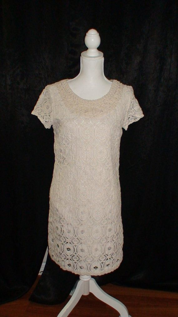 Lace Faux Pearl Vintage Dress by OldWorldFindings on Etsy