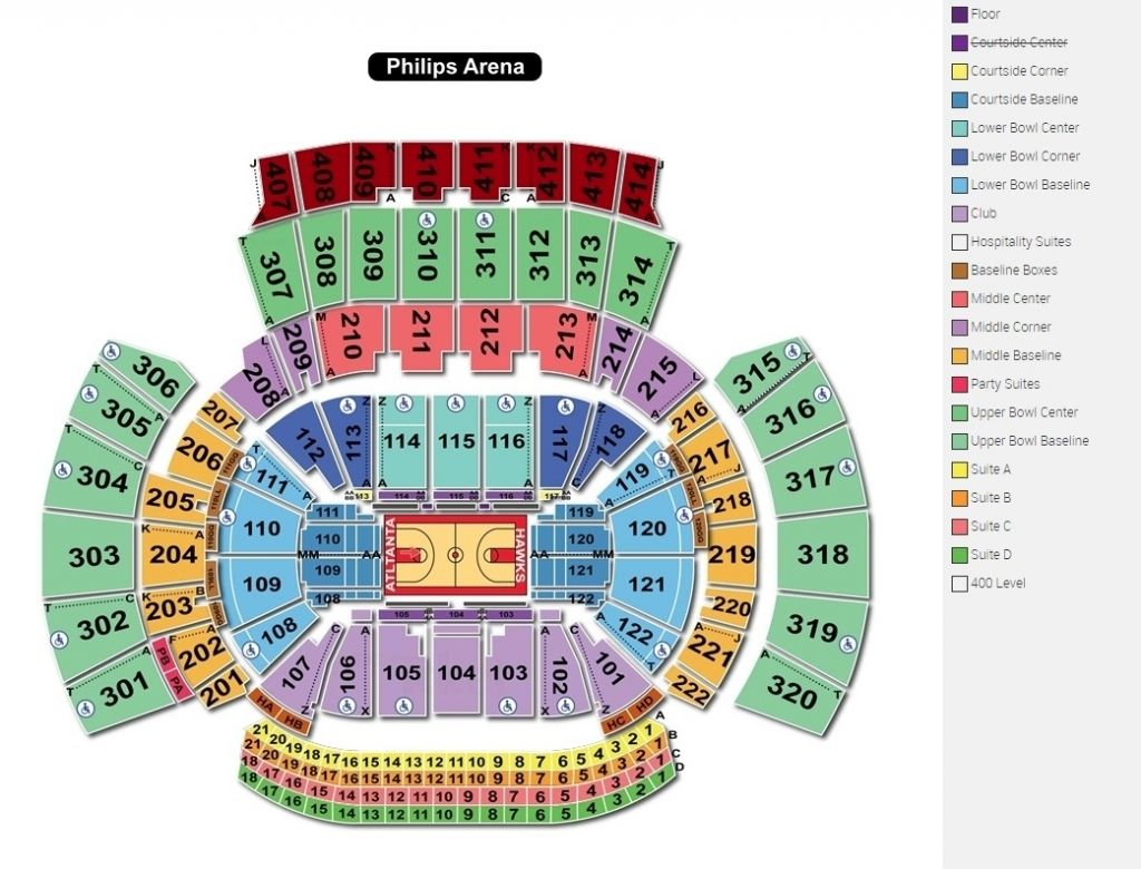 State Farm Arena Seating Chart Philips Arena Seating Charts Chart